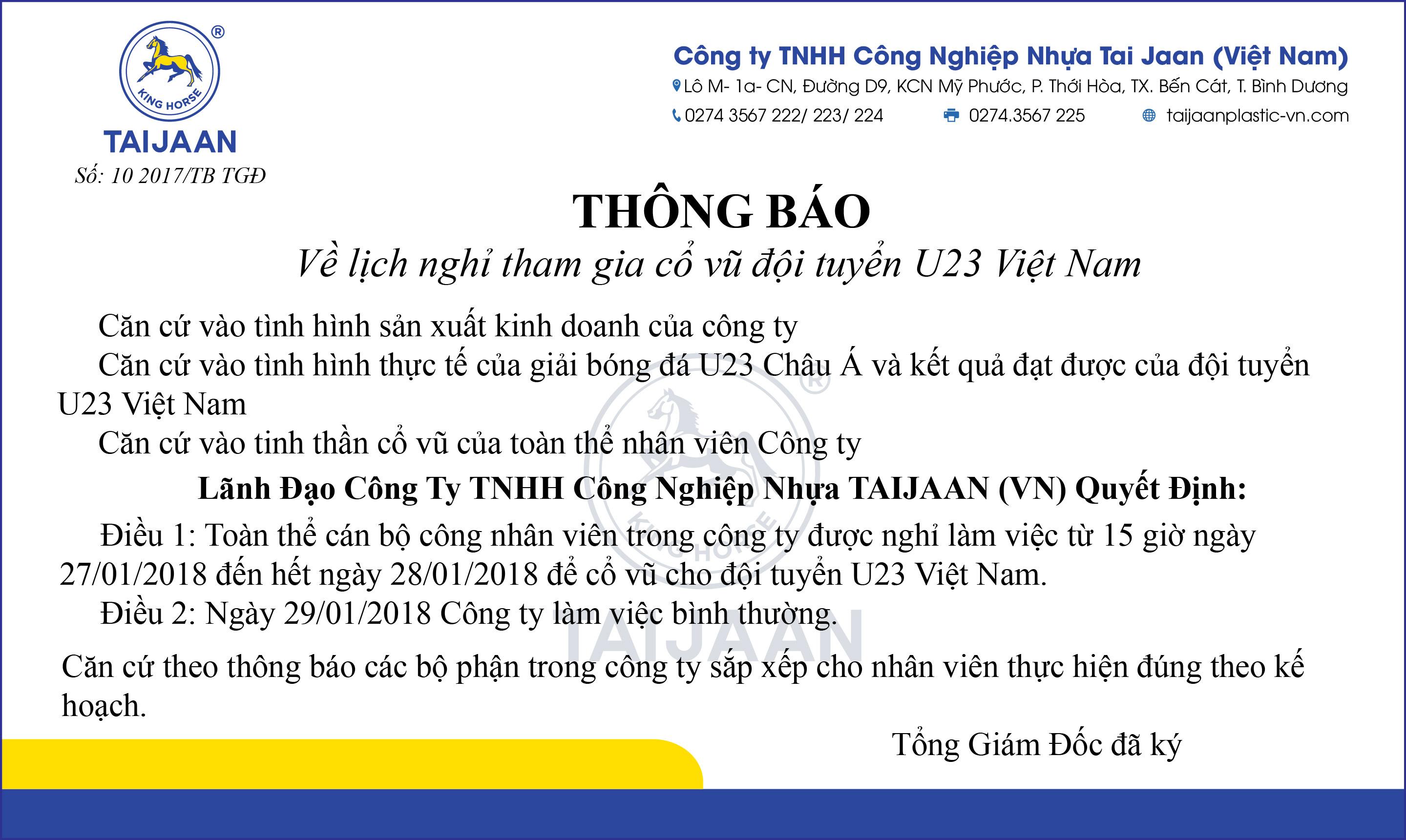 [TB] Lịch nghỉ tham gia cổ vũ U23 Việt Nam đá chung kết giải U23 Châu Á
