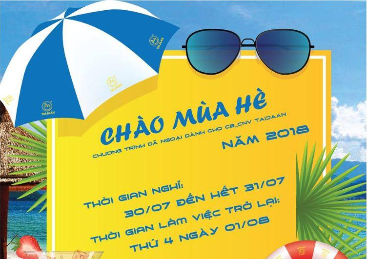 [TB] Lịch nghỉ để tổ chức dã ngoại hè cho CB_CNV công ty