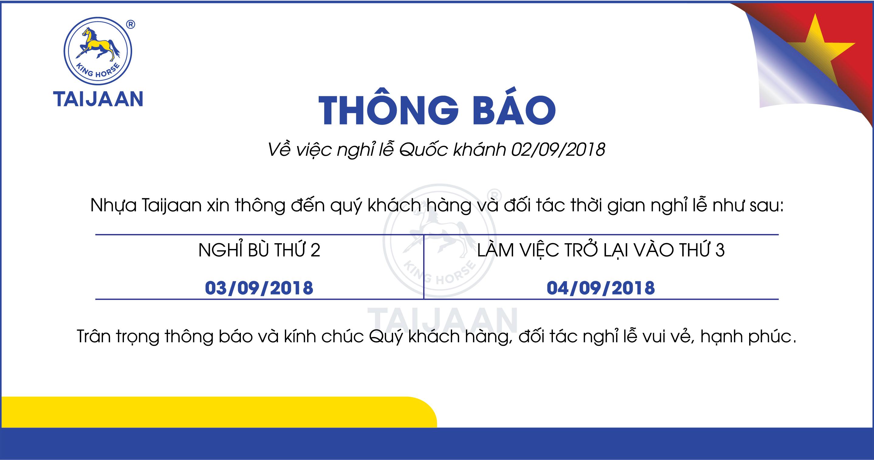 [TB] Lịch nghỉ lễ Quốc khánh 02/09 của công ty Nhựa Taijaan (VN)
