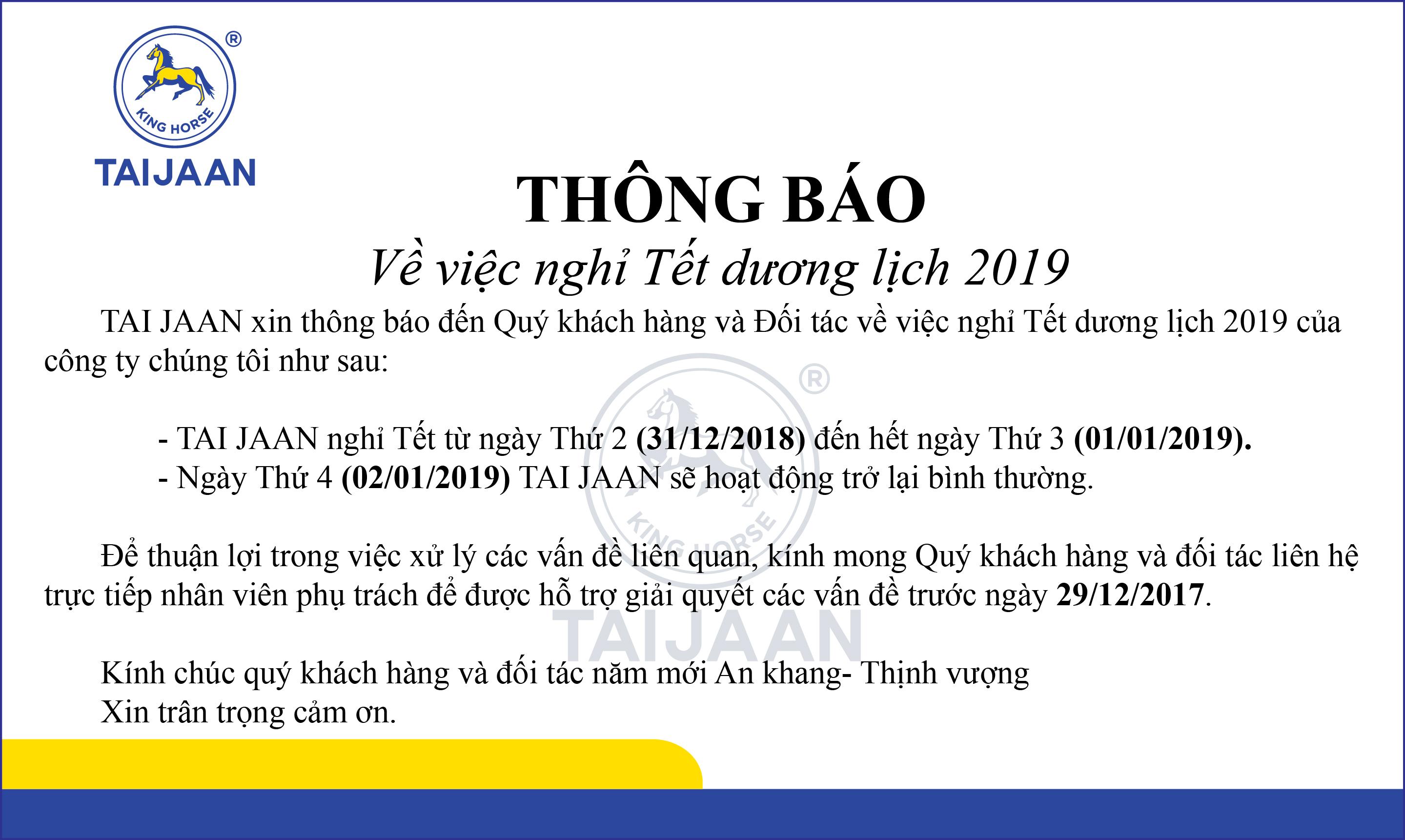 [TB] Lịch nghỉ Tết dương lịch năm 2019